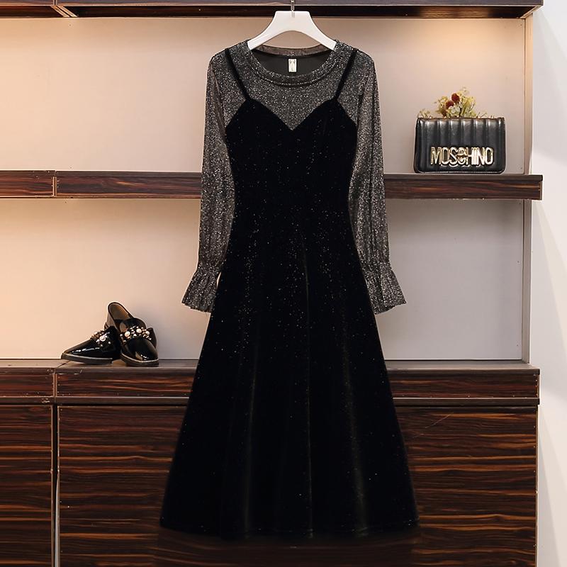 Жир mm осень западный стиль тонкий отпуск подол женский большой размер мода накройте живот тибет мясо французский супер платье 600776328813