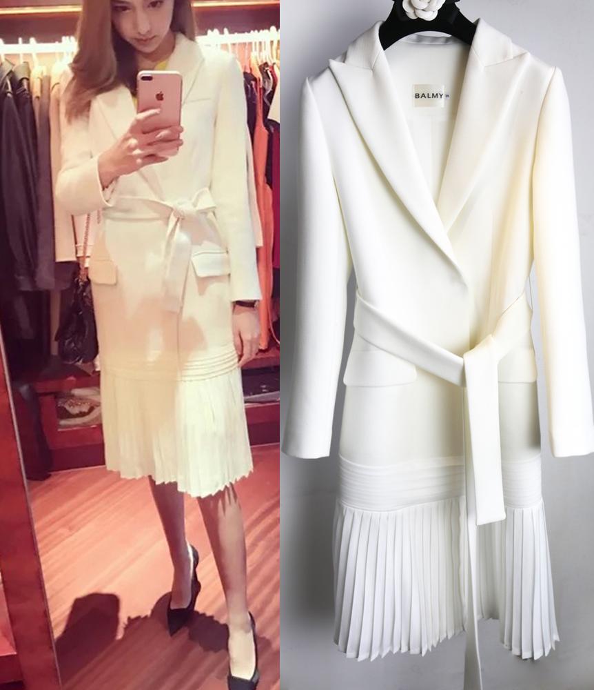 2019春夏外套西装连衣裙套装女士白色长款薄款褶皱风衣