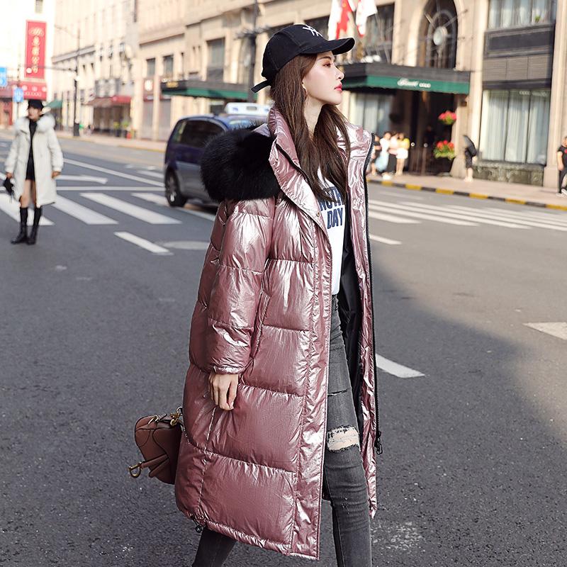 韩版ins学生棉袄女中长款过膝2019冬季新款亮面加厚大毛领棉服潮