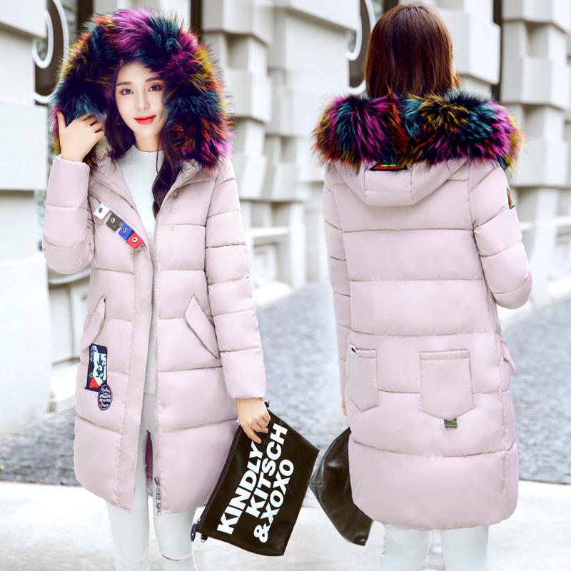 反季冬装女修身中长款a冬装加厚带毛领连帽棉服女2018新款棉衣