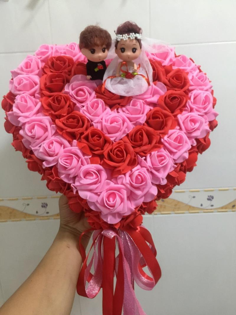 Usd 1219 wedding car decoration supplies head flower korean heart color classification pink circle between the small red small size width 33cmhigh 29 5cm small number of small red small pink medium red powder and white mightylinksfo