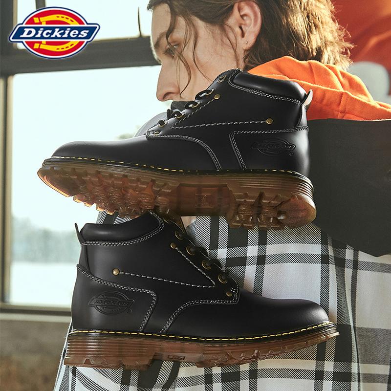 dickies马丁靴男真皮黑色男士高中帮英伦复古作战机车男工装靴子