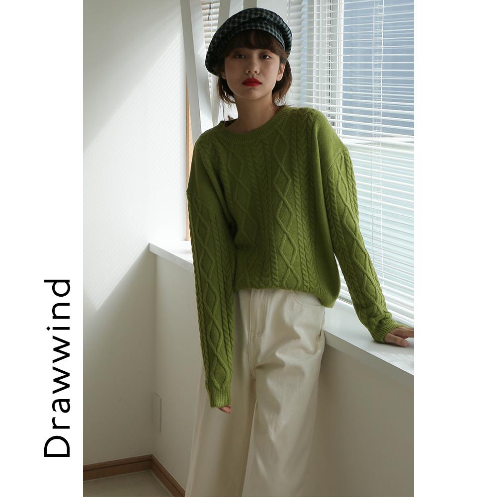 画风复古麻花日系毛衣女学生小短款套头上衣韩版圆领百搭毛线衫