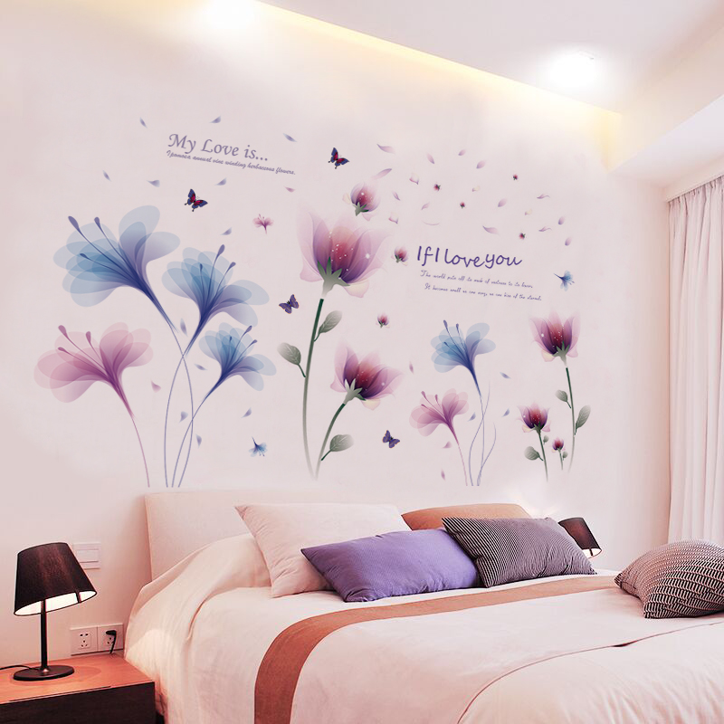 Small Fresh Wall Flower Wall Stickers Bedroom Warm Room Decorations Wall  Paper Self Adhesive Wall