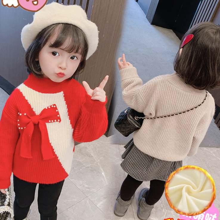 米米果小数点绒毛加女童衣新款宝宝洋气套头针织衫女儿童加厚款秋