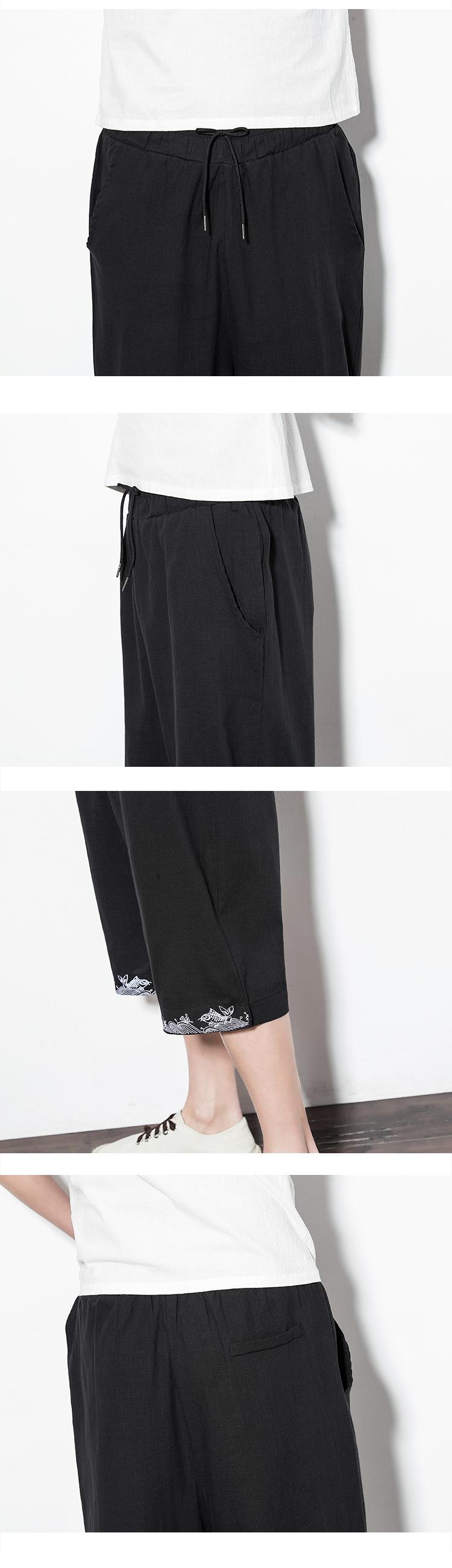 中国风棉麻男裤子夏季薄款宽松七分裤男士亚麻休闲裤男装阔腿中裤