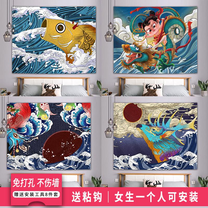 Phong cách Nhật Bản ukiyo-e vải nền treo vải ký túc xá đầu giường đổi mới trang trí tấm thảm đặt phòng ngủ nữ tính - Tapestry