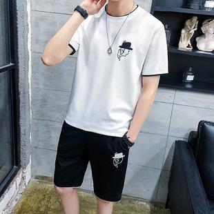 夏季男圆领薄款短袖T恤运动透气休闲套装