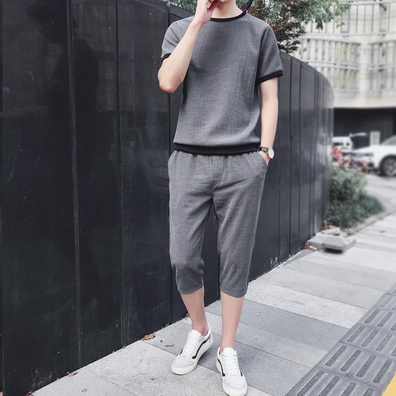 休闲套装男2019夏季潮流时尚短袖七分裤两件套青少年衣服男装一套