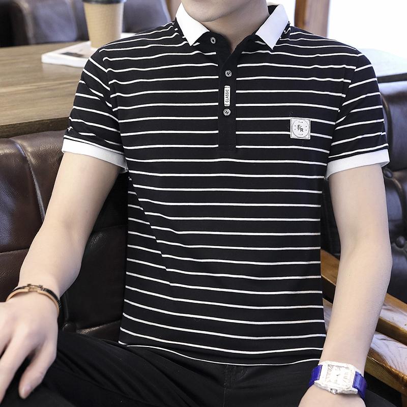 新款男士短袖条纹t恤polo衫
