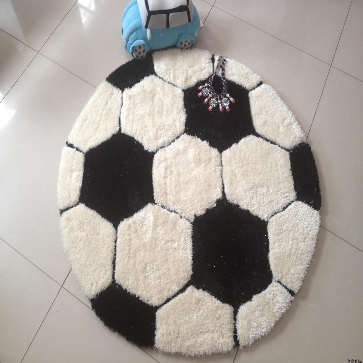 新品推荐 特价圆形黑白足球卧室电脑椅地垫圆地毯包邮