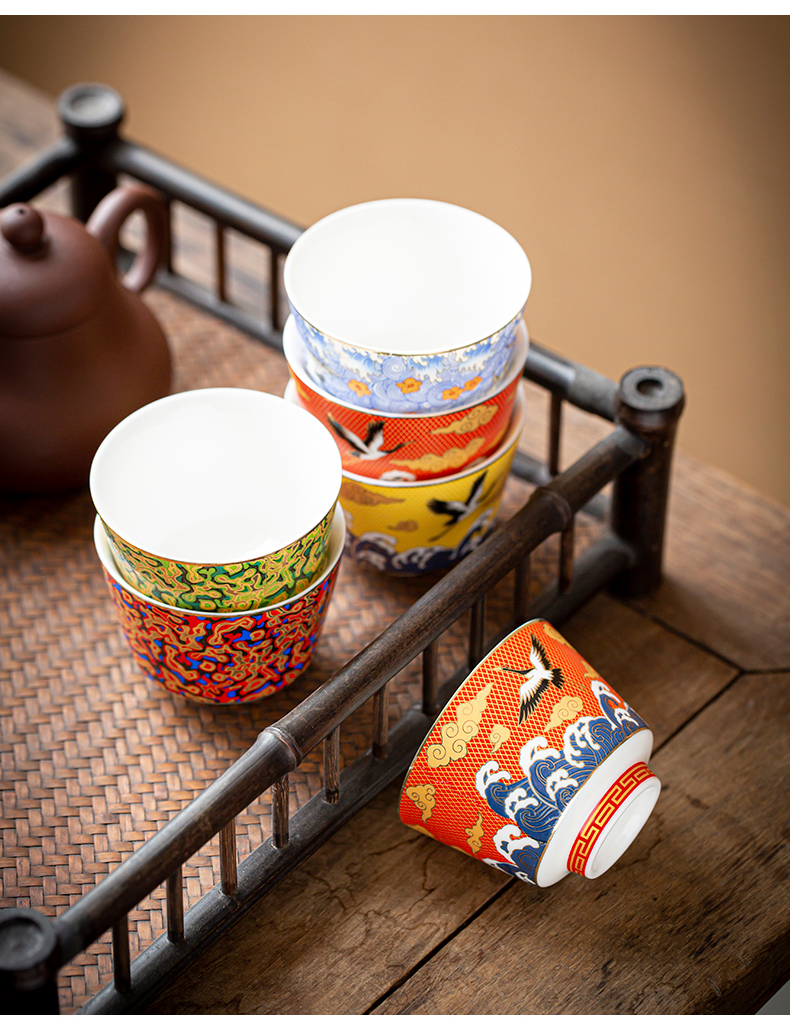 By the tide of special ceramic cups kung fu tea cup single CPU Japanese master sample tea cup cup gift sets
