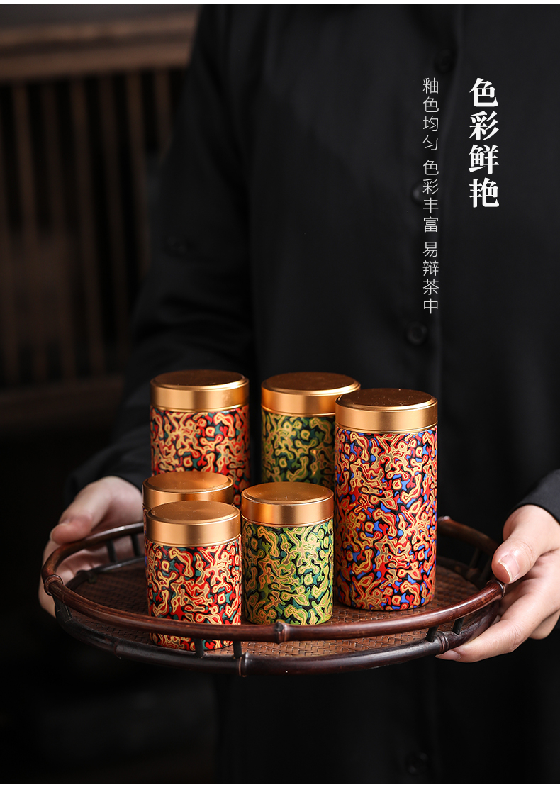 By portable travel ceramic tea pot bamboo small seal portable mini storage POTS customize logo
