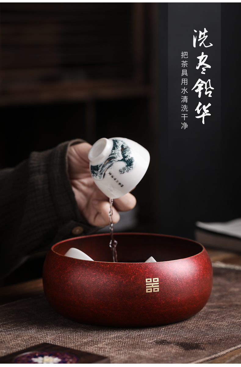 Mana burn by pure copper large tea to wash to the writing brush washer anti - oxidation household washing water jar for wash cup kung fu tea accessories