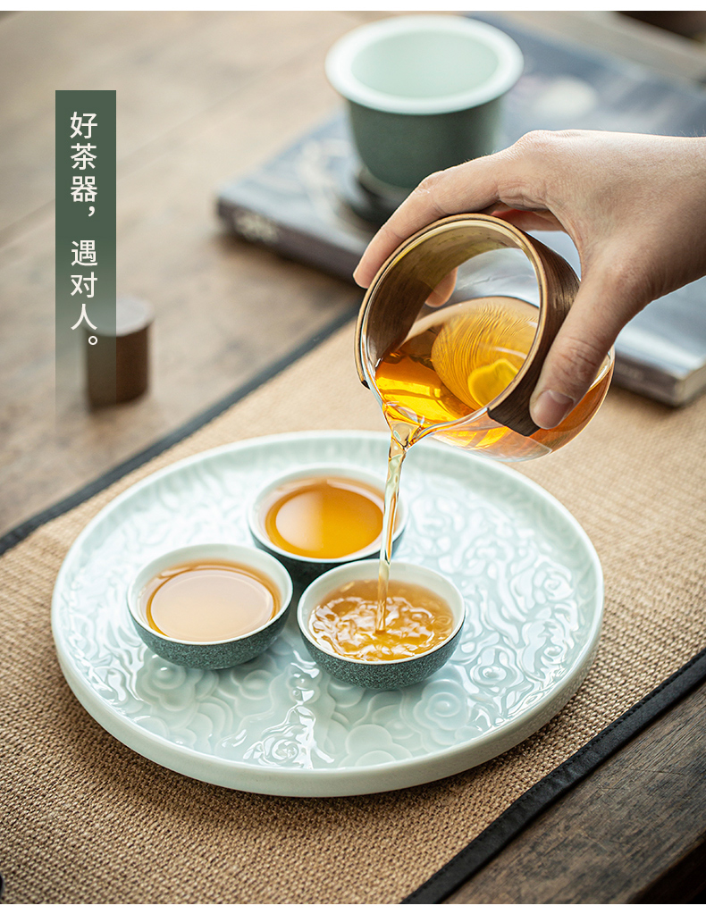 By Japanese kung fu tea set four cups three cups of small portable bag in a pot of suit custom ceramic crack cup
