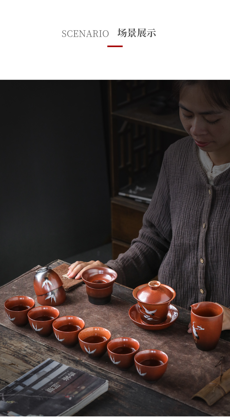 By the new Chinese style restoring ancient ways is coarse pottery, ceramic fair keller of tea sea points of the crane, tea, kungfu tea accessories