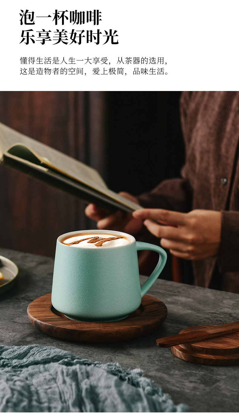 Northern high wind glass ceramic coffee cup small delicate appearance level ins creative mark cup with cover the custom office