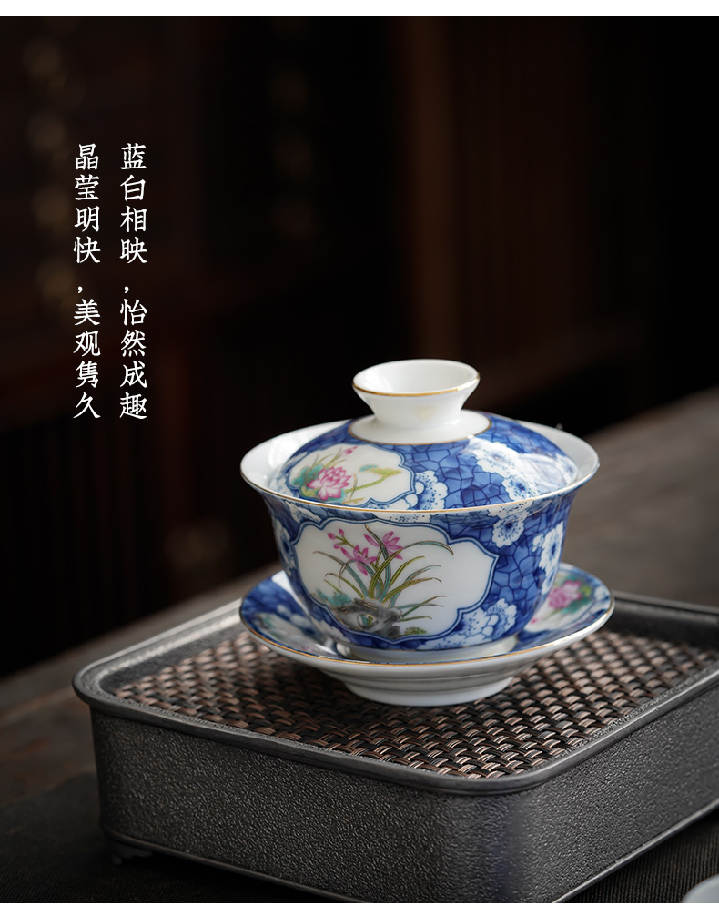 Jingdezhen blue and white only three tureen hand - made kung fu tea set a single ceramic cup bowl is not hot