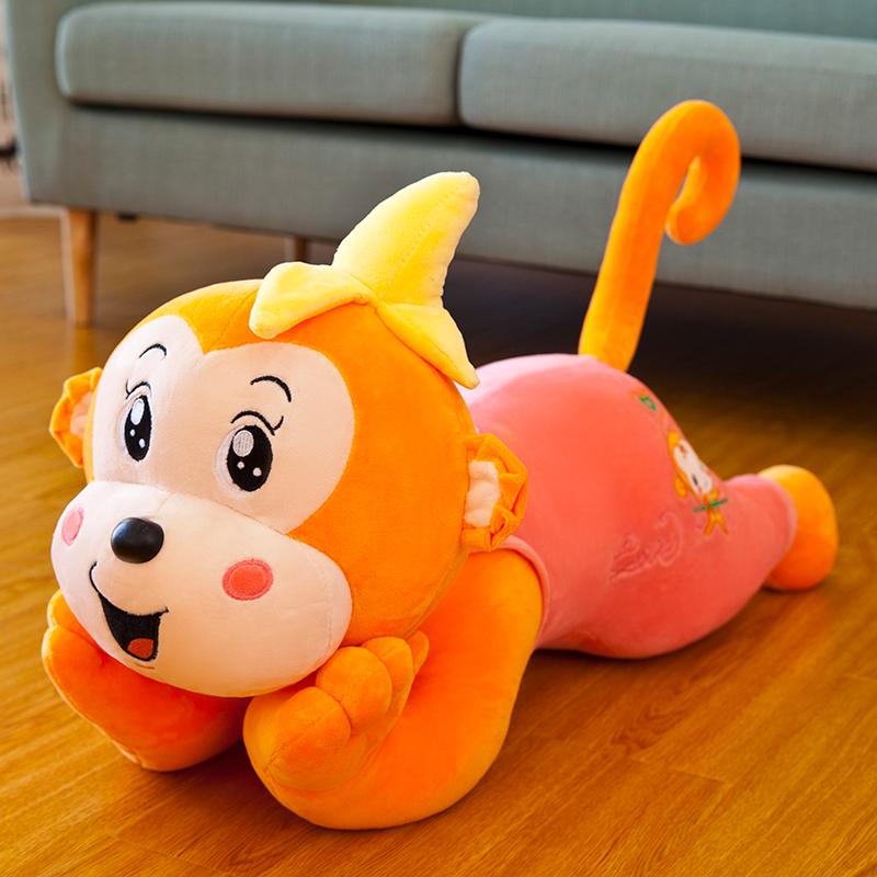可爱趴趴猴子睡觉长条枕毛绒玩具抱枕头公仔布娃娃床上生日礼物女