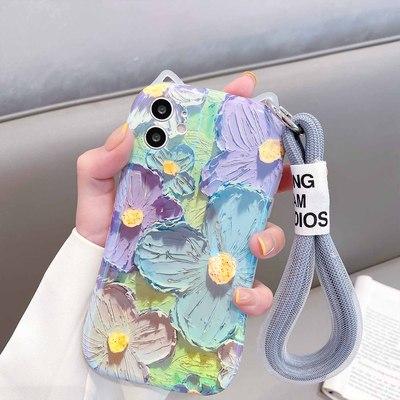 日韩个性油画花朵适用苹果12手机壳猫耳朵iphone11全包12Promax软壳xsmax女款7/8plus防摔xs硅胶xr挂绳保护套