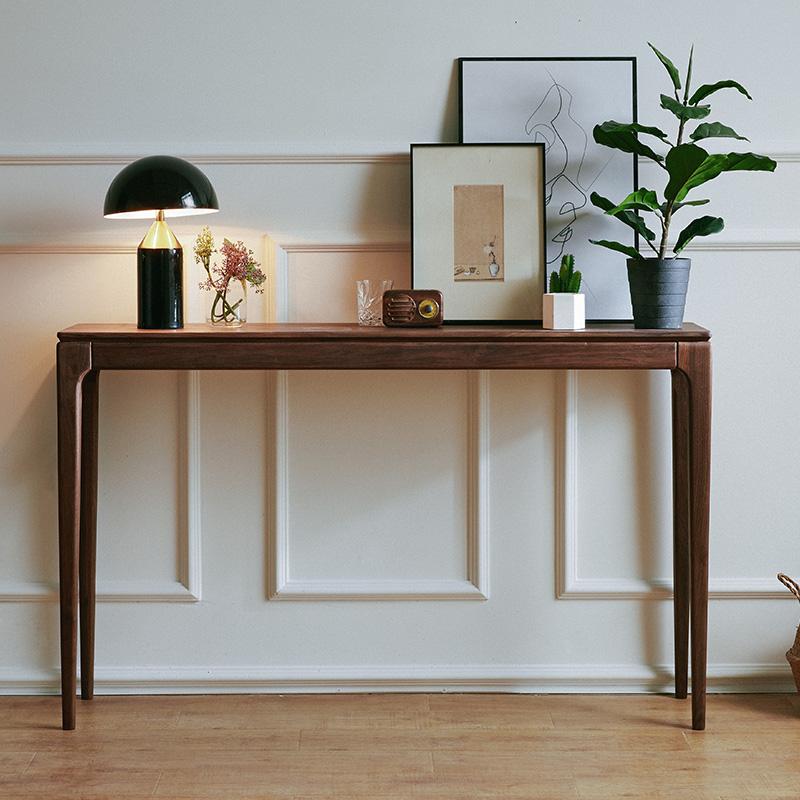 愫胡桃房供桌现代简约黑条几北欧条桌玄关条案实木供台新中式木工