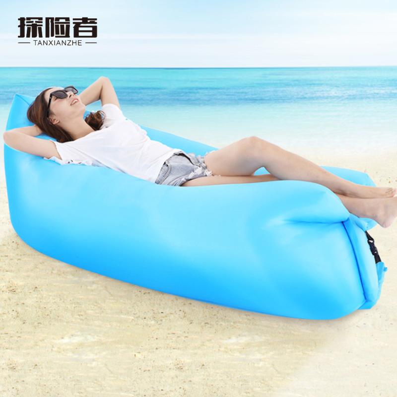 户外网红抖音懒人便携式充气床空气沙发免打气气垫床单人冲气床垫-给呗网