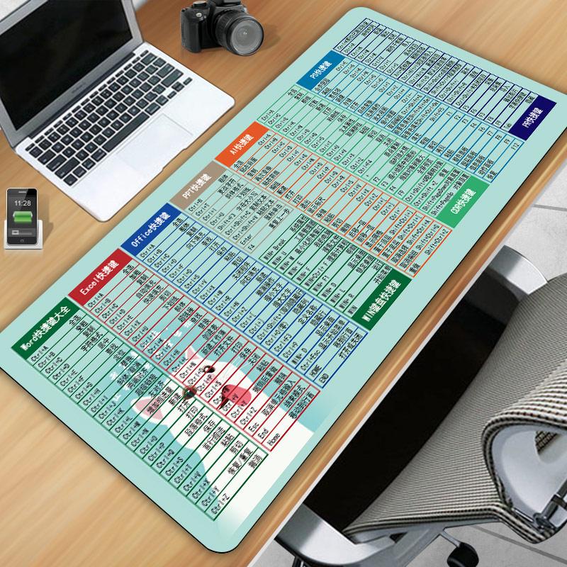鼠标垫超大定制女office办公wps快捷键电脑书桌垫大号cad简约可爱