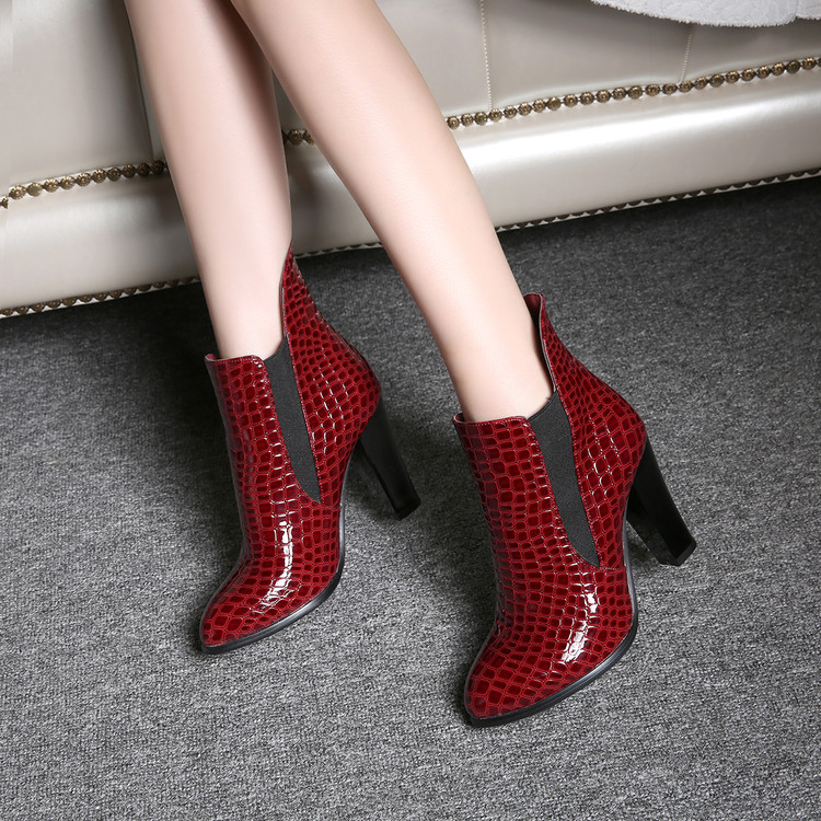 Spring Autumn Thick Women's high heel boots shoes