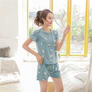 【2件套】纯棉夏清新薄款短袖睡衣