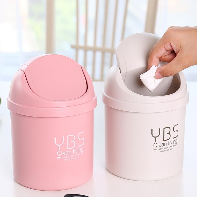 桌面垃圾桶创意迷你少女家用客厅卧室茶几办公室桌上带盖小垃圾桶-给呗网
