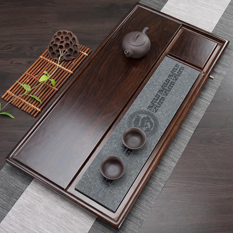 木竹家用块石功夫茶盘花梨台简约大实木整一体托盘电磁炉茶具套装