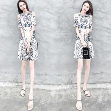 夏季新款女装时尚气质露肩连衣裙