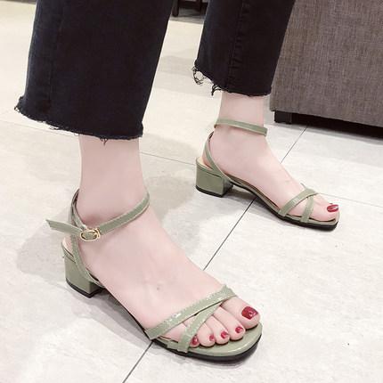2019新款软妹港味chic凉鞋女夏季粗跟仙女鞋简约百搭学生交叉绑带