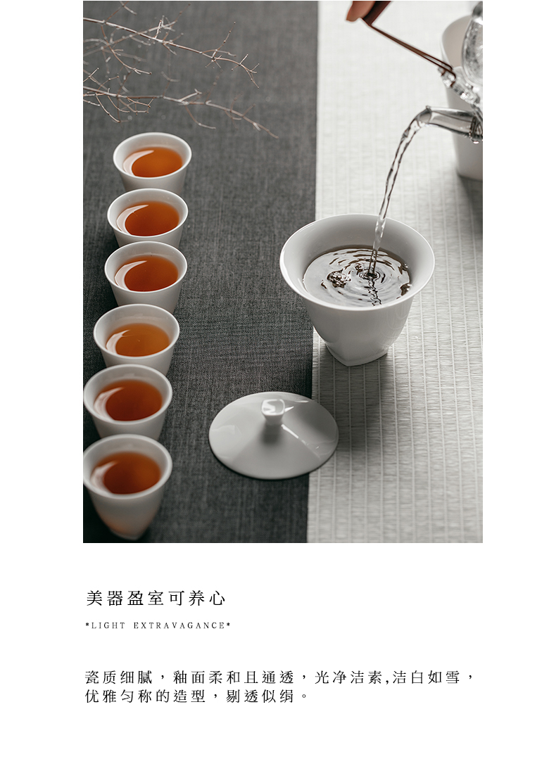 """The Self - """"appropriate content of household tureen inverse white tea cup bowl not hot Japanese kung fu tea set of jingdezhen"""