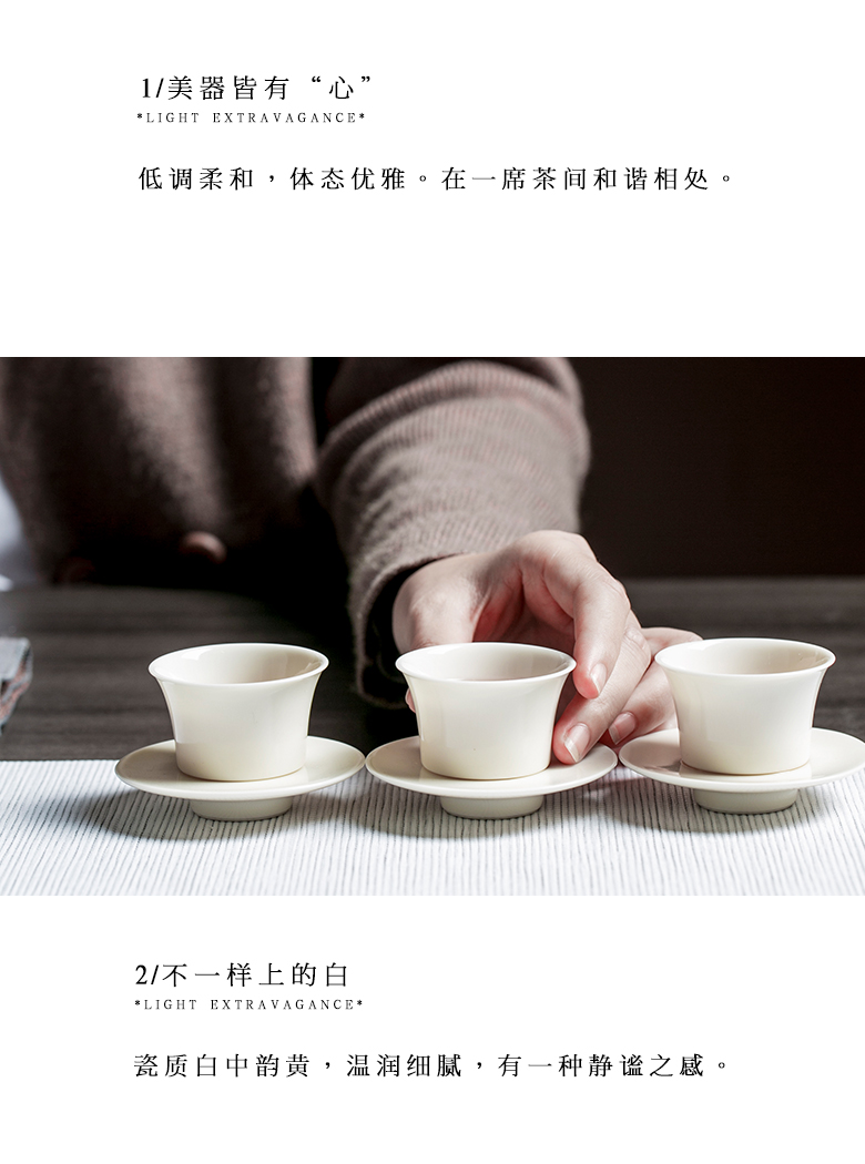 "The Self - ""appropriate content apricot white ceramic masters cup kung fu tea cups suit small sample tea cup white porcelain jade porcelain of jingdezhen"