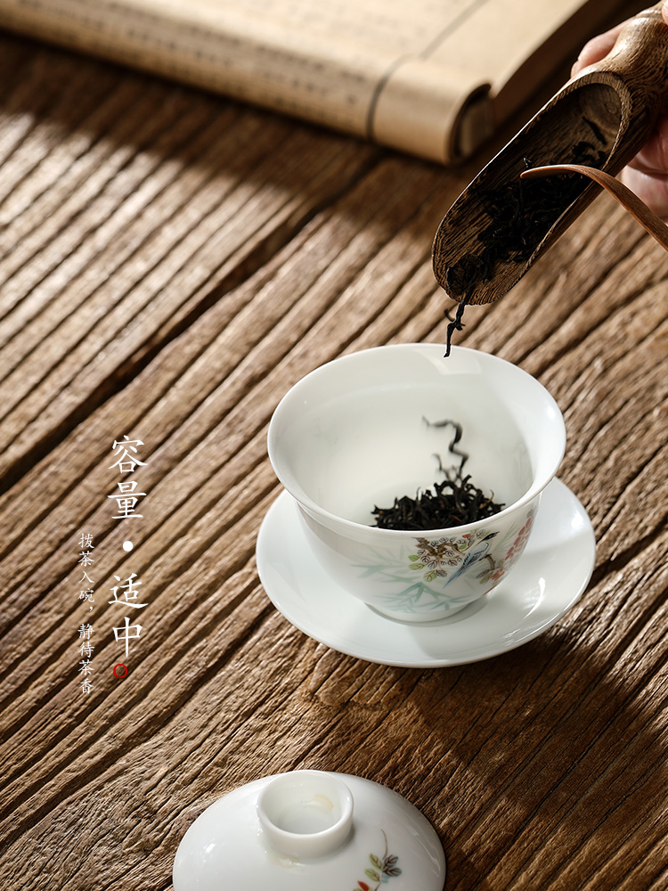 Pure manual only three tureen Chinese jingdezhen hand - made painting of flowers and white porcelain tea bowl kung fu tea set a single tea lady