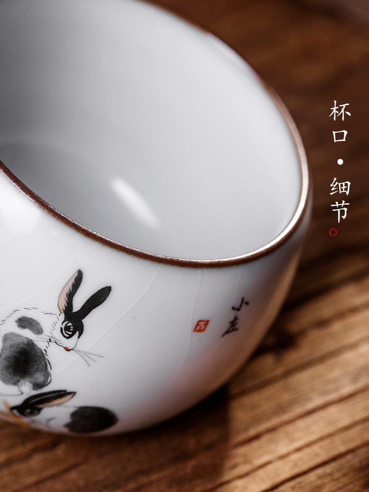 Pure manual your up jingdezhen cups master cup single cup sample tea cup single kung fu tea bowls hand - made zodiac rabbit CPU