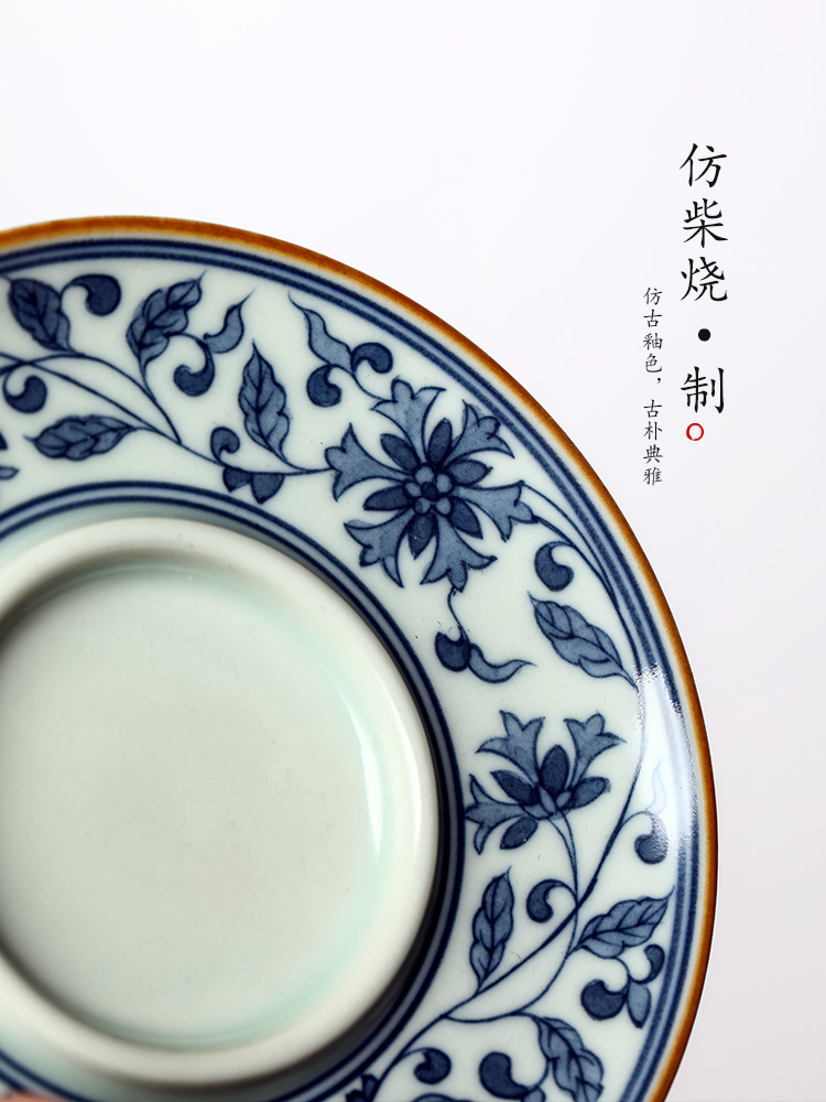 Pure manual only three tureen jingdezhen hand - made porcelain cups around branch lotus tea bowl of large - sized iron single tea; preventer