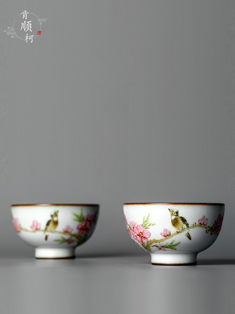 Jingdezhen Xu Jiaxing hand - made peach blossom put water point your up teacup kung fu master cup single cup of pure manual for cup size