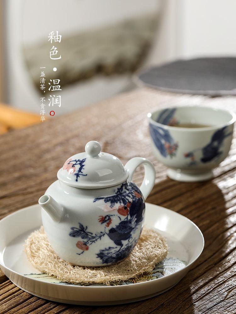 Jingdezhen blue and white teapot pure manual ceramic tea set hand - made big rooster antique teapot single pot kunfu tea