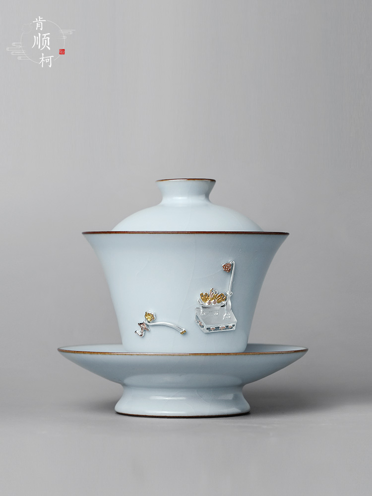 Jingdezhen pure manual three just tureen tea bowl large cups not hot curium nail thickening kung fu tea set, ceramic