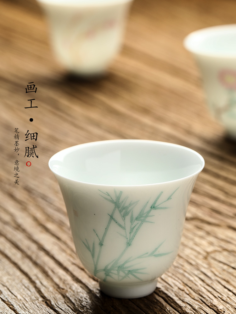 Jingdezhen pure manual white porcelain ceramic kung fu master cup sample tea cup single cup tea hand - made by patterns tea cups