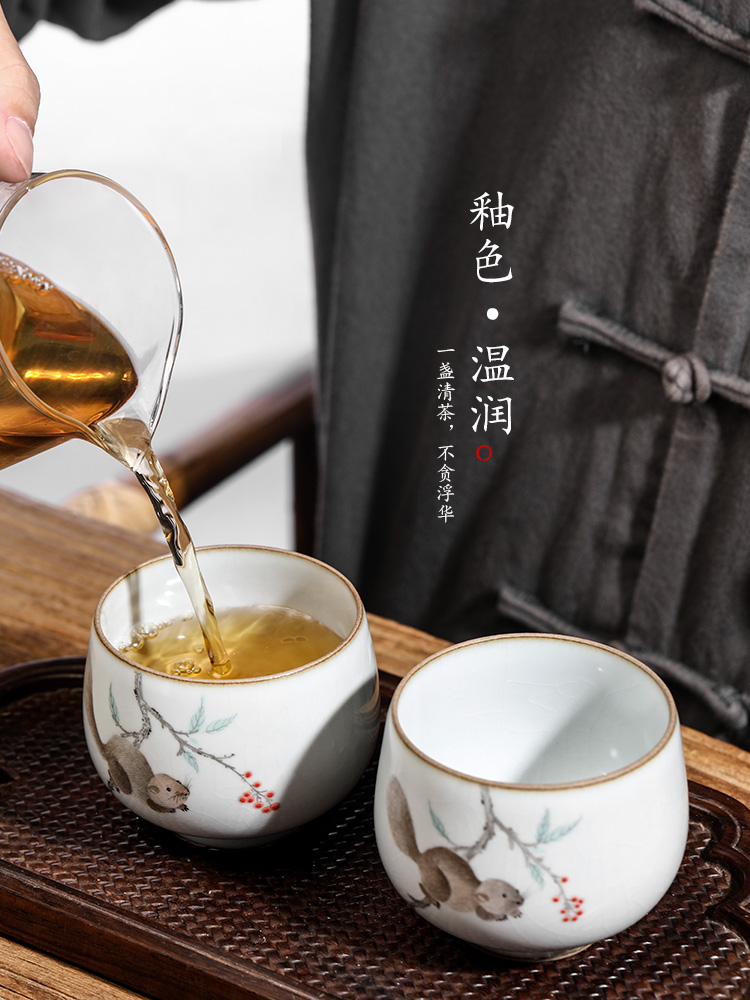 Your up kung fu tea cups jingdezhen hand - made master cup single glass ceramic sample tea cup pure manual squirrel tea