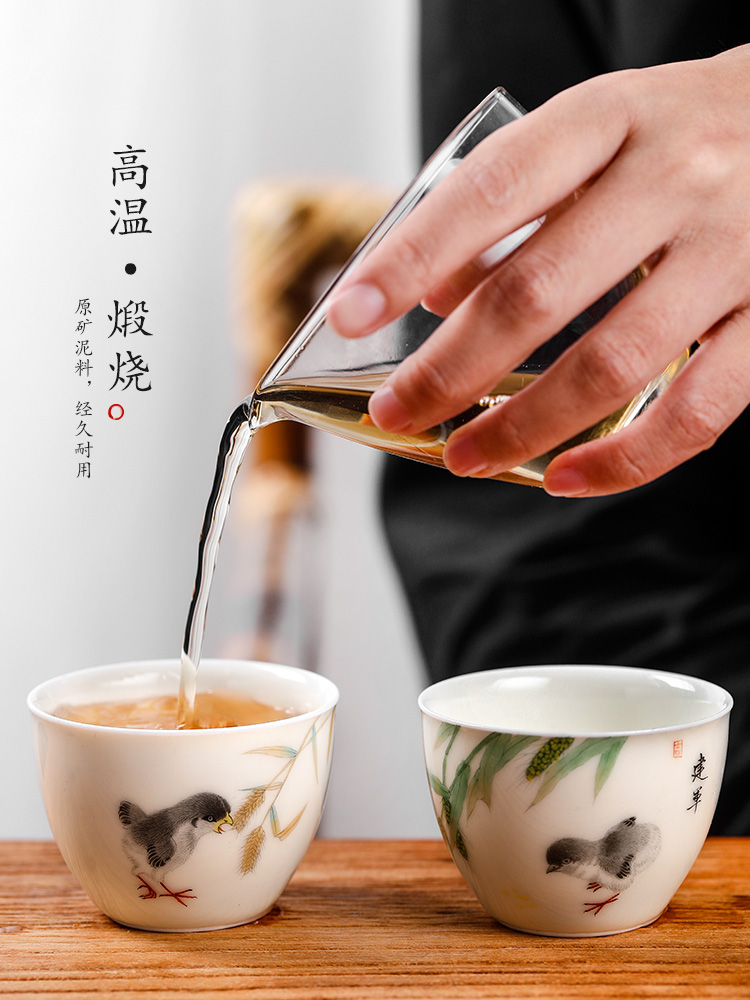 Jingdezhen hand - made master kung fu tea cup of pure manual sample tea cup single cup chicken cylinder cup ceramic tea set gift boxes