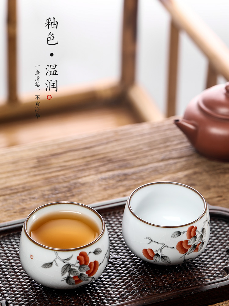Your up hand - made master cup single CPU jingdezhen checking sample tea cup single ceramic persimmon open piece of kung fu tea cups