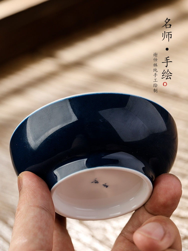 Jingdezhen porcelain masters cup single cup men 's pu' er cup hand - drawn characters color glaze sample tea cup only kung fu tea cups