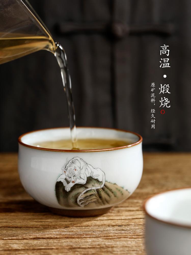 Pure manual your up master kung fu tea cup single CPU jingdezhen hand - made zodiac tiger a single tea sample tea cup