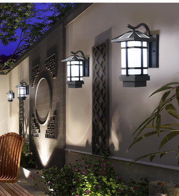 Solar energy product garden aisle wall waterproof antique modern simple square leaf Lunjiao garden wall lamp