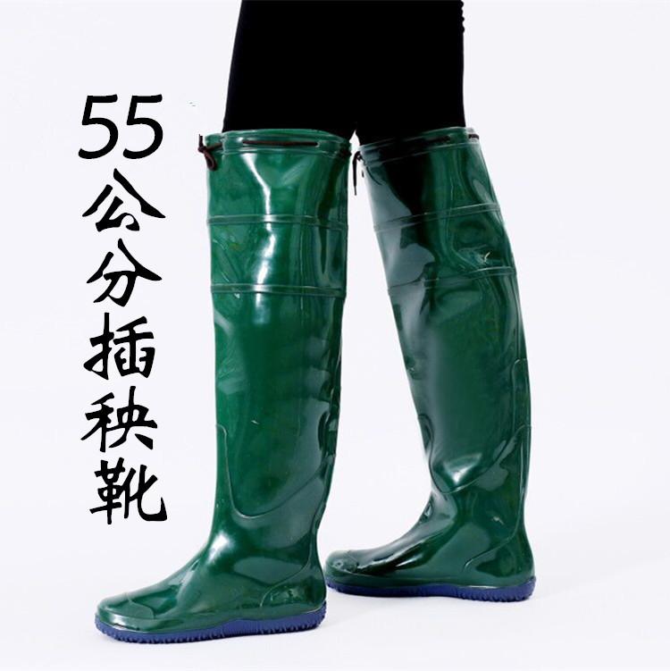 长筒下水靴松紧雨鞋鞋袜软底插秧鞋过膝男女水田胶鞋过膝捕鱼鞋靴