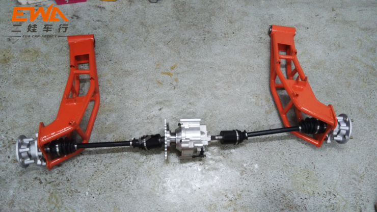 Modified Baja racing rear axle independent suspension